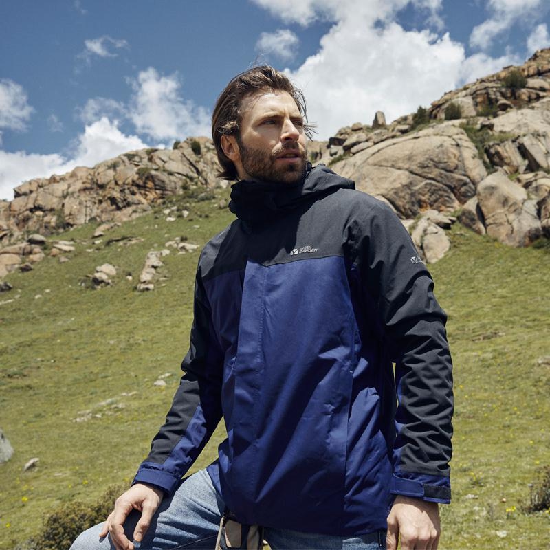 牧高笛 冲锋衣男加厚三合一加厚保暖运动外套女户外防风防水登山服